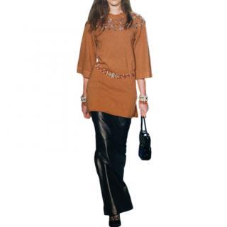 Chanel Paris/Rome Runway Crsytal Embellished Cashmere Dress