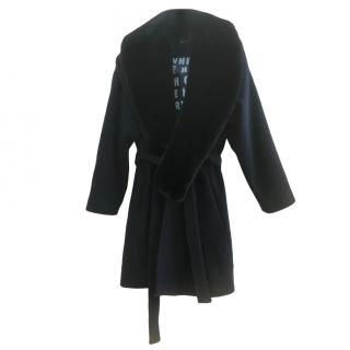 Each x Other Navy Wool Blend Coat with Faux Fur Coat