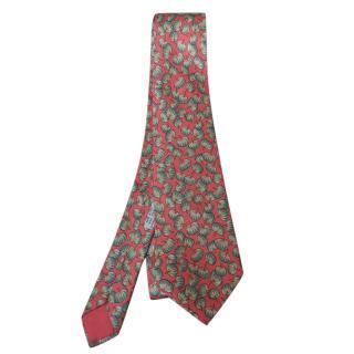Hermes Coral Pumpkin Print Silk Tie