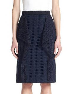 3.1 Philip Lim Navy Broderie Anglaise Ruffled Pencil Skirt