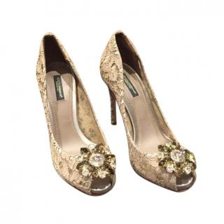 Dolce & Gabbana Lace Peep-Toe Belucci Pumps
