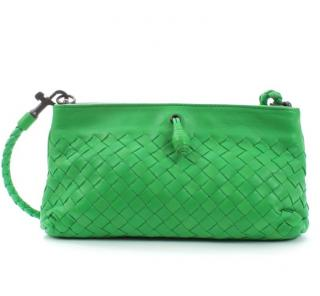 Bottega Veneta Green Intrecciato Leather Crossbody Pochette