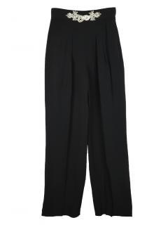 Christopher Kane embellished waistband black crepe trousers