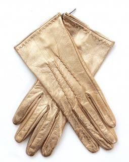 Ermanno Scervino Metallic Gold Leather Gloves