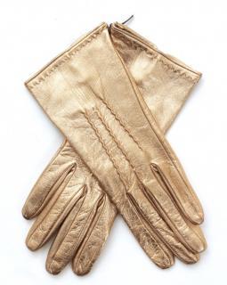 Ermanno Scervino Metallic Gold Leather Gloves