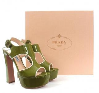 Prada Green Patent Leather Platform Sandals