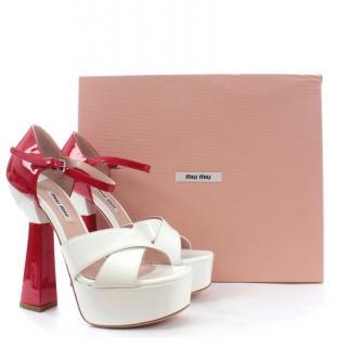 Miu Miu Red & White Patent Platform Sandals