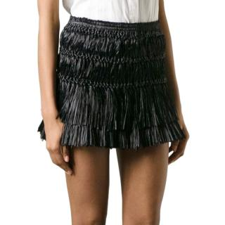 isabel Marant black faux raffia mini skirt