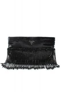 Prada limited edition black fringed sequin clutch