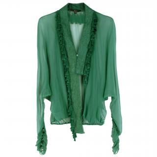 Gucci Green Silk Tassels Embellished Top