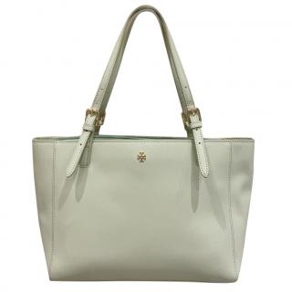 Tory Burch mint green leather shoulder tote bag