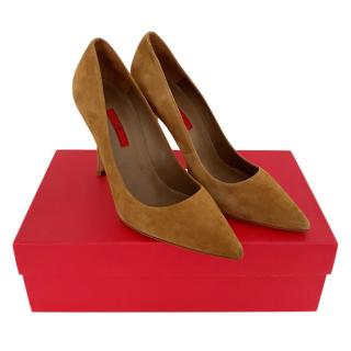 Carolina Herrera Camel Suede Pumps