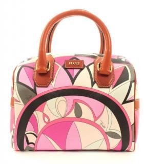 Emilio Pucci Printed PVC & Leather Boston Tote Bag