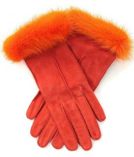 Prada Orange Mink Fur Trimmed Suede Gloves