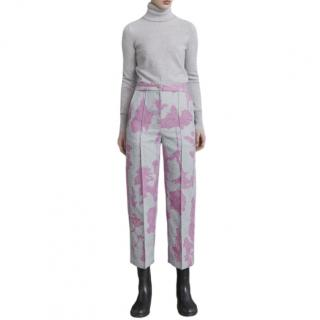Chalayan Tree Print Wide Leg Crepe Cropped Pants