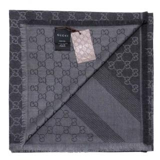 Gucci Anthracite Wool & Silk Reversible Scarf