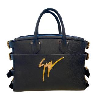 Giuseppe Zanotti Black Leather Buckle Detail Tote Bag