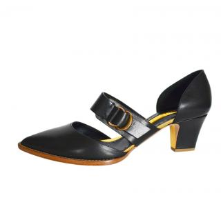 Rupert Sanderson Black Buckle Detail Mid-Heel Pumps