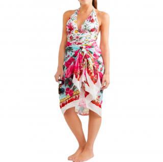 Dolce & Gabbana Blue Rose Print Sarong/Wrap Scarf