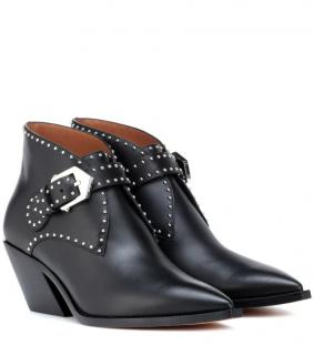 Givenchy Black Studded Buckle Detail Ankle Boots