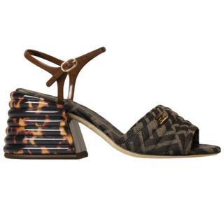 Fendi F canvas chunky heel sandal