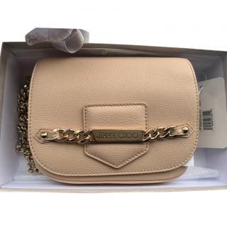 Jimmy Choo pebbled nude leather shoulder bag