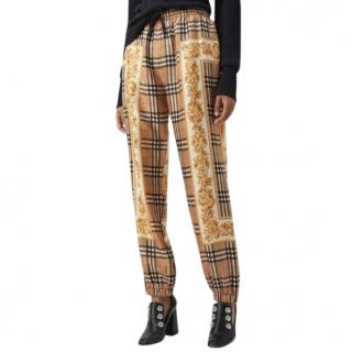 Burberry Silk Vintage Check Archive Scarf Print Drawstring Trousers