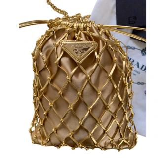 Prada Gold Corded Leather Drawstring Bag