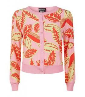 Boutique Moschino Pink Leaf Print Cardigan