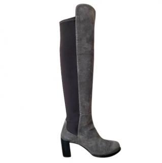 Stuart Weitzman Suede/Nappa Leather Grey OTK Boots