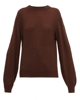 Khaite Brown Cashmere Crew Neck Top
