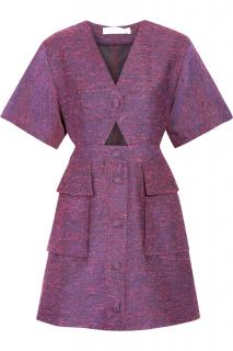 Stella McCartney Violet Cut-Out Button Down Dress