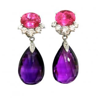 William & Son Interchangeable Tourmaline, Diamond & Amethyst Earrings