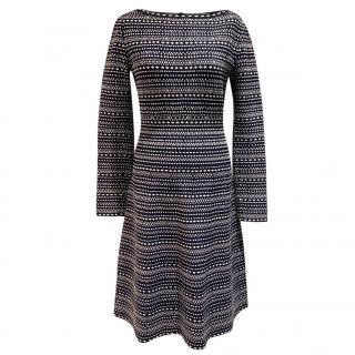 Alaia Blue & White Knit Fit & Flare Dress