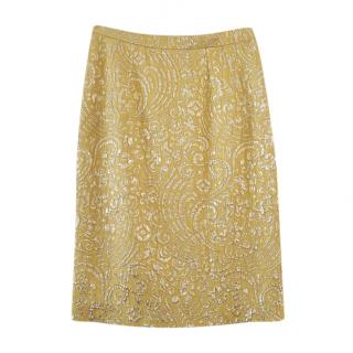 Dolce & Gabbana Yellow Brocade Skirt
