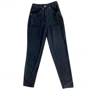 Gianni Versace Black Stretch Slim Pants