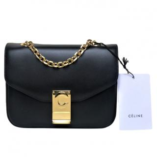 Celine Black Leather Small C Shoulder Bag
