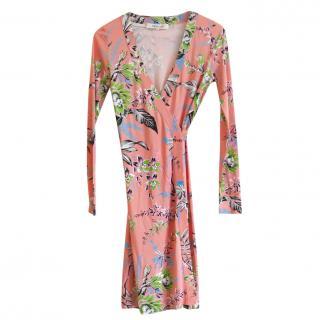 Diane Von Furstenberg Pink Printed Wrap Dress