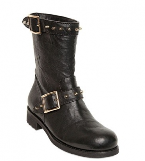 Jimmy Choo Black Leather Biker Boots