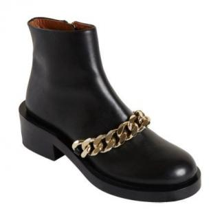 Givenchy Black Leather Chain Draped Boots