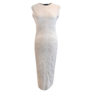 Alexander McQueen Ivory Knit Stretch Midi Dress