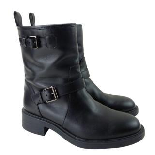 Hogan Black Leather Biker Boots