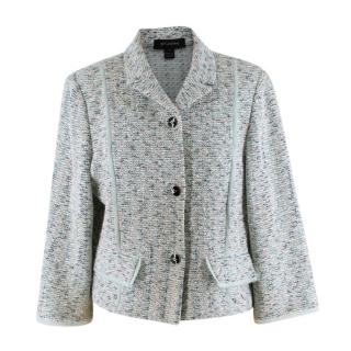 St. John Blue Wool Blend Silk Trimmed Jacket