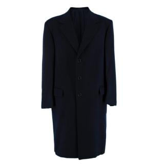 Donato Liguori Navy Cashmere Single Breasted Hand Tailored Coat