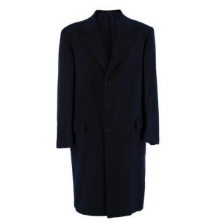Donato Liguori Navy Cashmere Single Breasted Hand Tailored Coat