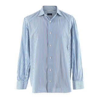 D'avino Blue  Striped Cotton Hand Tailored Long Sleeve Shirt