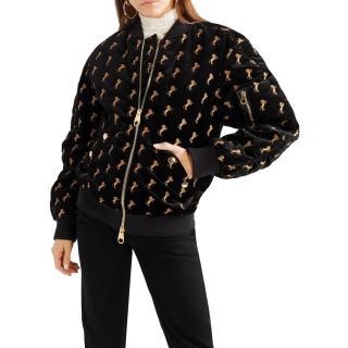 Chloe horse print black cotton velvet jacket
