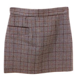 Sandro Houndstooth A-Line Mini Skirt