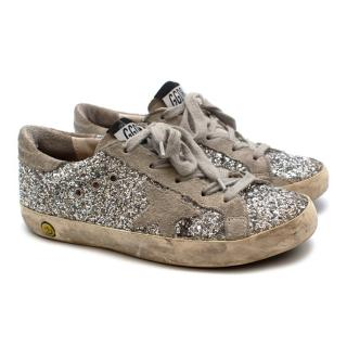Golden Goose Silver Glitter Super Star Sneakers