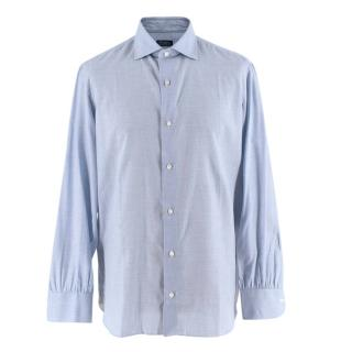 D'avino Blue Pied de Poule Cotton Hand Tailored Long Sleeve Shirt